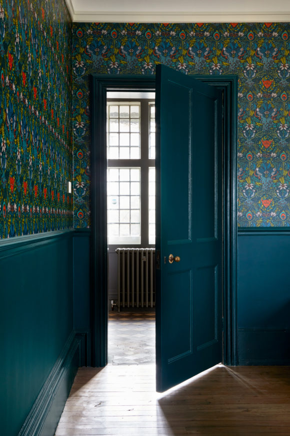 patterned wallpaper, green walls, hallway
