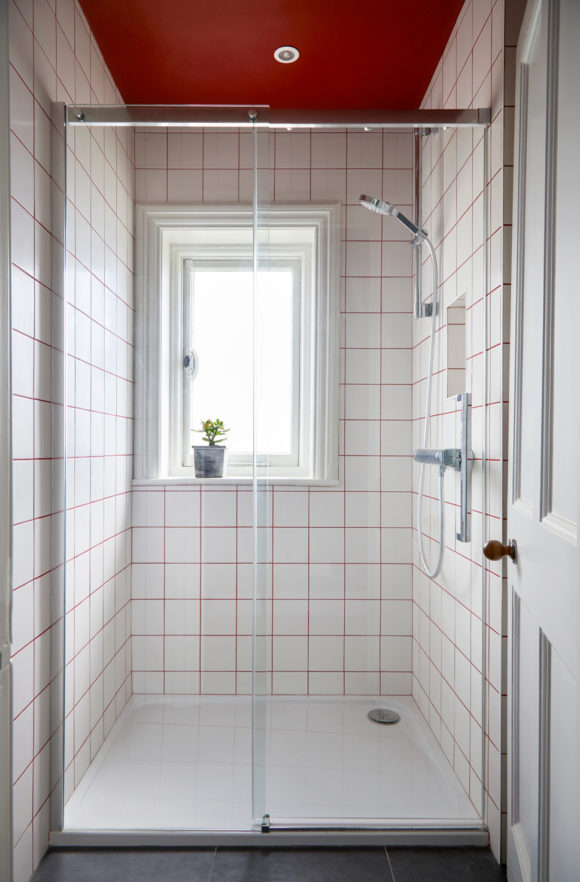shower room with white tiles and red grout, red ceiling