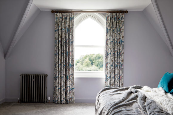 master bedroom window, patterned curtain fabric